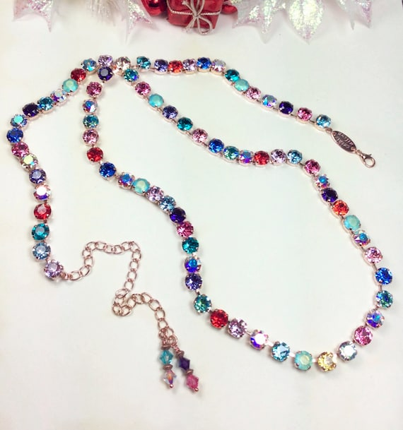 "Swarovski Crystal Necklace -Extra Long ""Mardi Gras"" Necklace - Elegant, Sumptuous Accent !  32""+ of Swarovski Sparkle! - FREE SHIPPING"