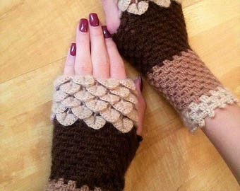 Fingerless Gloves Crocheted crocodile stitch mittens . Winter Accessories.