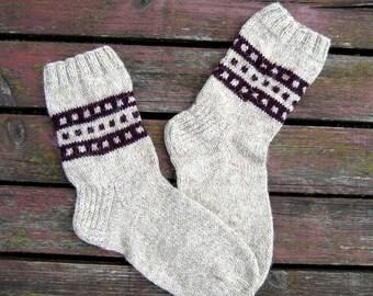 Men's Winter Wool Socks Ornament Hand Knitted #15. Beige VdQISBmf