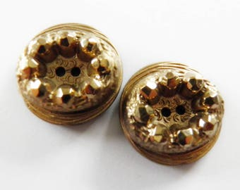 Black Glass Buttons Gold Luster
