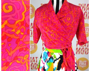 Bright Pink & Orange Psychedelic Swirls Blouse Top Shirt with Long Waist Tie!