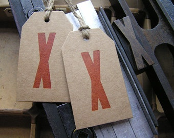 Letterpress typography red X gift tags printed on Kraft recycled card - 2 large