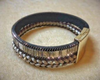 Cuff bracelet with kumihimo braid