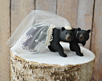 Black Bear Wedding Cake Topper-Bear Cake Topper-Hunting Cake Topper-Ivory wedding cake topper