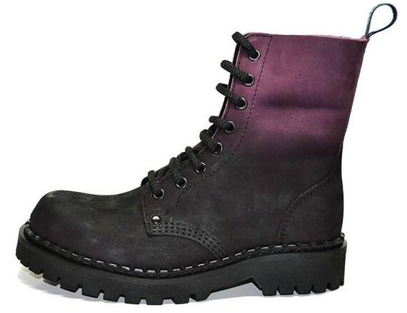 Mod Punk Militr NEBEL LILA Kampf Vegan Arbeitsstiefel Rock Gothik Schuhe UK 3