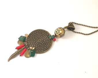 Ethete, bohemian necklace, bronze, red coral and semi precious malachite stone