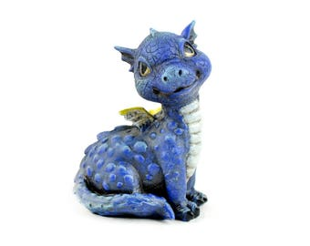 """Baby blue Dragon - 2.5"""" x 2"""" x 1.5"""" - Resin - Miniature Fairy Garden Dollhouse"""