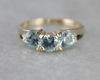 Three Stone Blue Zircon Ring, Birthstone Ring,Past Present and Future UA8LM4-R