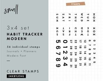 STMP-3X4-033 - Habit Tracker Modern | Planner and Journal Clear Stamp Kit | 3x4""