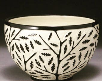Handmade Porcelain Branch and Leaf Bowl ( with sgraffito carved surface)