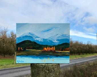 Original acrylic landscape nature lover hiking mountain range lakeside art campgrounds national park birthday anniversary Mother's Day