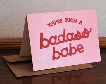 you're such a badass babe galentine's day card // 5x7 A7 cards on confetti cardstock with recycyled kraft paper envelopes // linocut block
