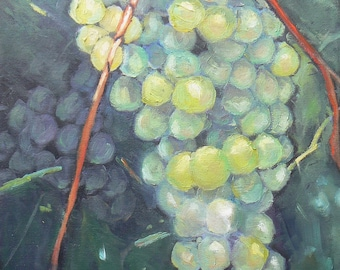 Green Grape Oil  Painting on Canvas Panel, Daily Painting, Fruit Still Life,  9x12, Original Oil Painting, Free Shipping in US