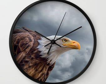 Bald Eagle Wall Clock, Eagle, Moody Sky Clock, Bird Clouds wall clock, Wild Animal Decor, Designer Wall Clock, Nature Decor