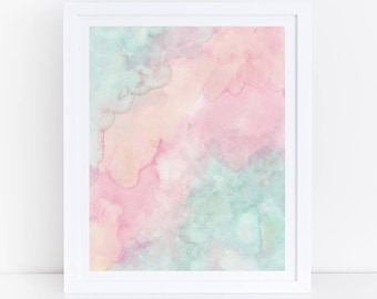 Pastel Watercolor Print, Pastel Prints, Mint Green And Pink Wall Art,  Printable Watercolor