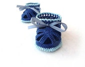 Crochet Baby Boy booties - Crochet Baby Sandals - blue nautical boy sandals