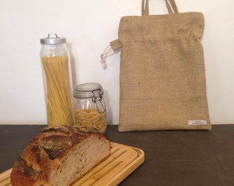 bread bag , jute  fabric hand made south of france