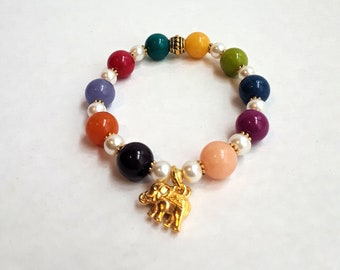 Jany - Gemstones Beaded Stretch Bracelet with Elephant charm