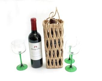 Woven Straw Wine Bottle Gift Bag