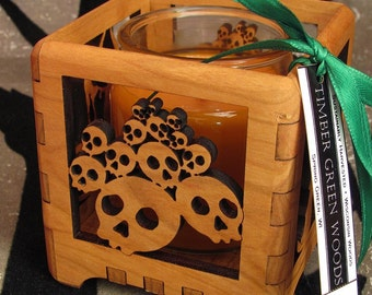 Halloween Votive Candle Holder - Skulls and Candles - Laser Cut Sustainable Harvest Cherry Wood . Timber Green Woods