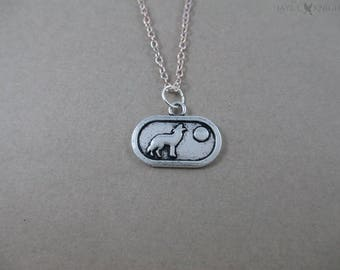 Howling Wolf Silver Charm Necklace