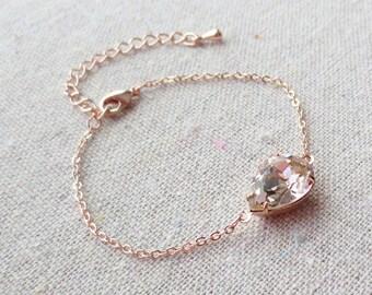 Swarovski Crystal Blush Bracelet, Blush Pink Bridal Bracelet, Rose Gold Chain Adjustable Bracelet, Custom Wedding Jewelry, Bridesmaids Gifts