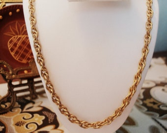 Vintage 14K Gold Plated Rope Chain Necklace - Great Vintage Condition!!