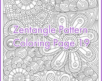 Coloring page adult and children, PDF zentangle pattern, printable art tangle inspired