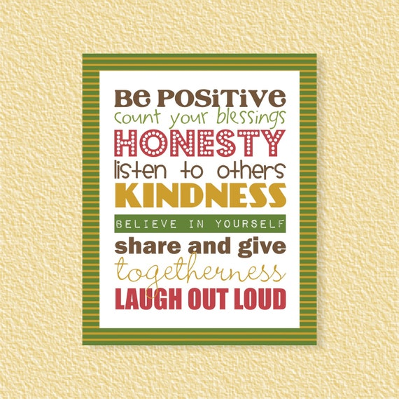 Be Positive Subway Art 8x10 Motivational Inspirational