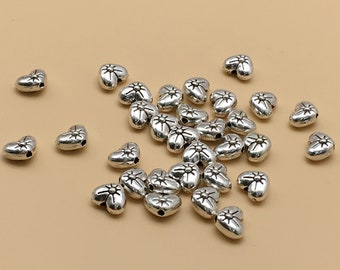 100pcs  Heart shaped Beads , Heart Beads ,  Heart-shaped Beads , Love Beads, Girl Beads ,  findings, Antiqued silver   DIY supplies