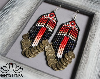 Native American style Fringe Beaded Earrings Seed bead earrings Dangle earrings Boho earrings Red chandelier earrings Ethnic earrings