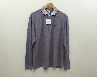Vintage Deadstock LANVIN Polo Collar Long Sleeve Tshirt Size Medium