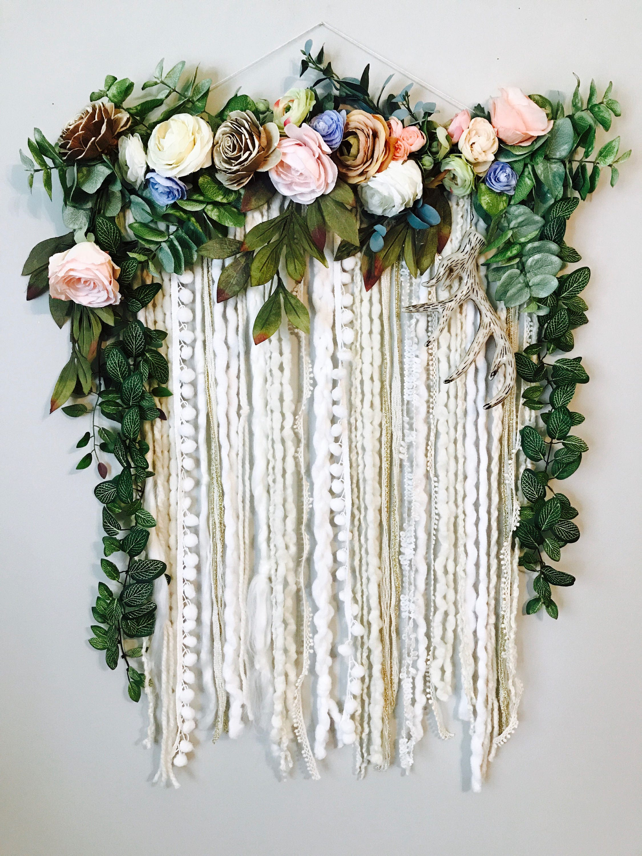 Floral Decor: Wall Hanging Floral Wall Hanging Flower Wall Art Large Wall