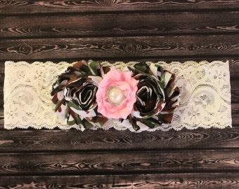 Lace camouflage headband, pink shabby flower with pearl, baby headband, Army headband, military headband