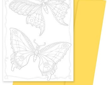 A5 Colouring Card- Butterflies