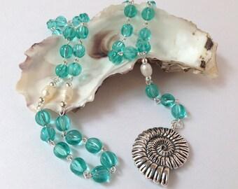 Large Aqua Ocean Rosary // Prayer Beads // Ocean Goddess // Water Goddess // Yemaya // Stella Maris