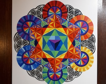 "Sacred geometry print of painting 11""×15"""