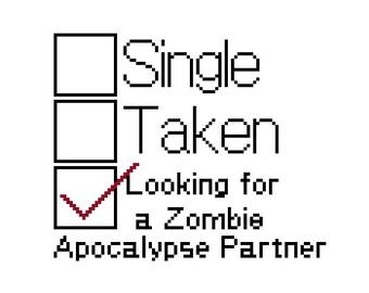 Funny Cross Stitch Pattern PDF - Zombie Apocalypse Partner Check Box