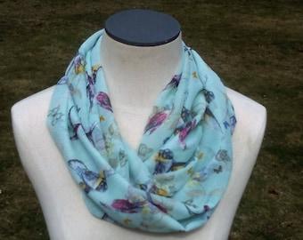 Lightweight infinity scarf, bird print chiffon scarf, bird print infinity scarf, loop scarf, mint green,light aqua print, Easter/mom gift