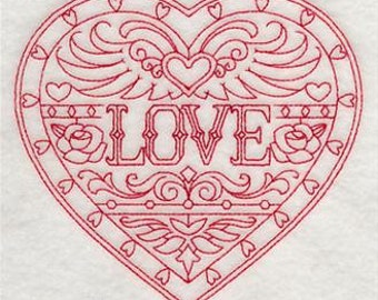 PAIR of Flour sack towels - Love Valentine's day heart - Embroidered redwork Great Gift!