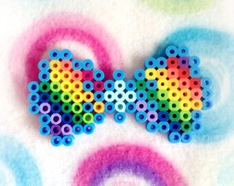 8-Bit Rainbow Hair Bow ~ Perler Bead Sprite
