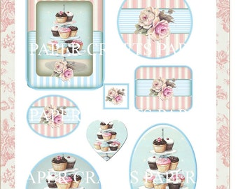 Papercraft Cup Cakes Collage Sheet Instant Download PDF