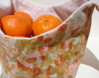 Peach Bento Bag, Knitting Bag, Snack Bag, Azuma Bag, Nani Iro Soft Flannel Bag