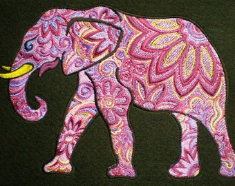Huge Embroidered Colorful Ornate Indian Elephant, Iron On or Sew On Applique Patch,Treasured Cultural Icon, Jeweled, Jewel, Fancy Design