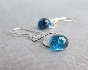 Blueberry Blue Dangles Silver, Blue Earrings, Silver Wire Dangle Earrings Blue Glass, Sterling Silver Earrings, Blue Lampwork Earrings Wire