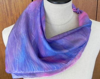 Square silk scarf hand dyed in shades of purple violet, blue and pink, ready to ship silk scarf #563