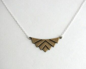 Oxidized Brass Chevron Necklace, sterling silver chain