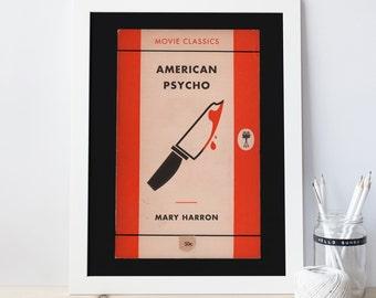 CLASSIC FILM POSTER - American Psycho Movie Poster, Penguin Books Cover, Mary Harron Movie Art, French Film Poster, Film Lover Art