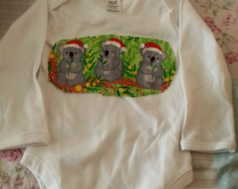 Long sleeved Christmas koala onesie