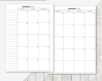 BO-A5 | 2018 Month On 2 Pages Printable Planner Inserts - 2018 Monthly Two Pages A5 Inserts Filofax Calendar Printable Planner Pages